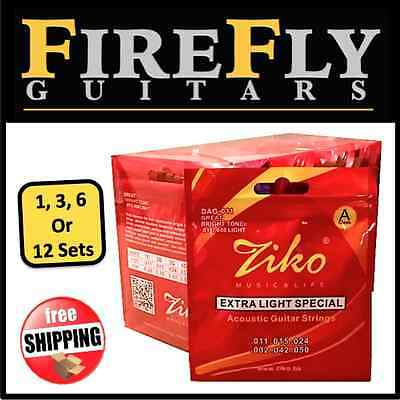 Buy 1 to 12 Sets Ziko DAG-011 Acoustic Guitar Strings011-050 Light Copper Wound