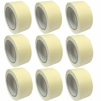 """(PACK OF 9) 50mm x 50M Roll Masking tape 2"""" decorators painters easy tear tape"""