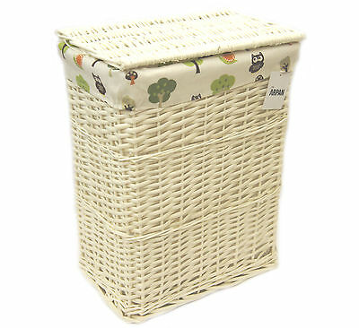 Arpan Large White Wicker Laundry/Linen Basket With Lining Woodland Owls 9358-LGN