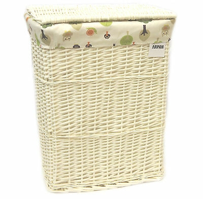 Arpan Medium White Wicker Laundry Basket With Lining Woodland Owls 9358-MGN