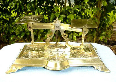 Antique ENGLISH POSTAL LETTER SCALE with WEIGHTS, Warranted Accurate circa 1870