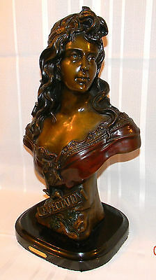 Antique RARE WOMAN'S STATUE SIGNED by Gurli SOLID BRONZE