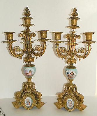 Antique FRENCH LOUIS XV Hand painted Porcelain Guilt Bronze Finish CANDALABRA 5