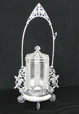 Antique VICTORIAN PICKLE CASTOR Rogers Smith #148 SilverPlate holder with Insert