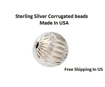 Sterling Silver Round Corrugated Beads Choose Size & QTY. 3,4,5,6,&,8 MM
