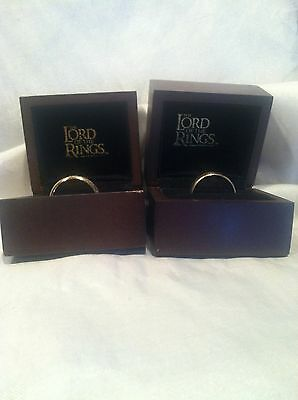 The Lord Of The Rings Hobbit's Ring 10k/14k Gold Set Of Two In Wooden Ring Boxes