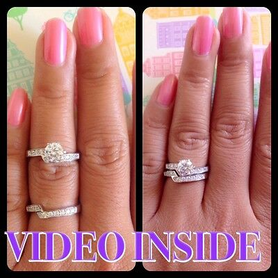 Fine Sets Diamond Solitaire Engagement Ring Solid In Sterling Silver