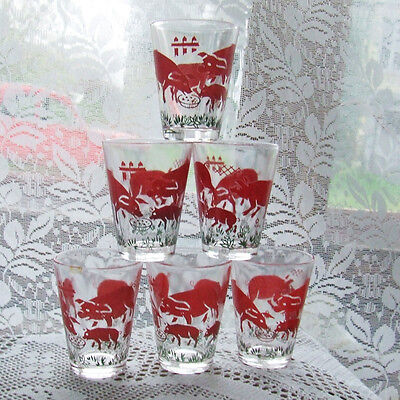 Vintage French Shot Glasses Set of 6 with Pigs 1950s Midcentury Retro