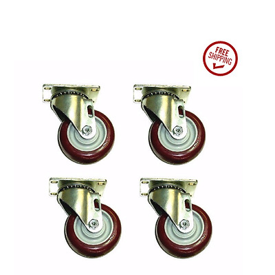 """Set of 4 Swivel Plate Casters with 3-1/2"""" Non Marking Maroon Polyurethane Wheels"""
