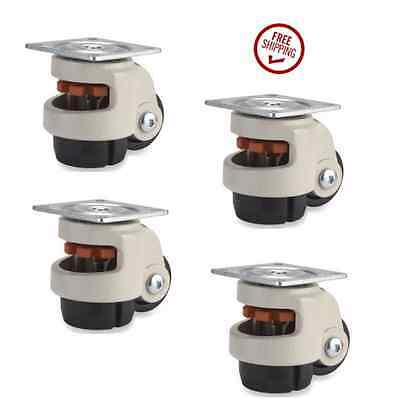 """Set of 4 Heavy Level Caster with 2-1/2"""" Nylon Wheel, Retractable Leg & Top Plate"""
