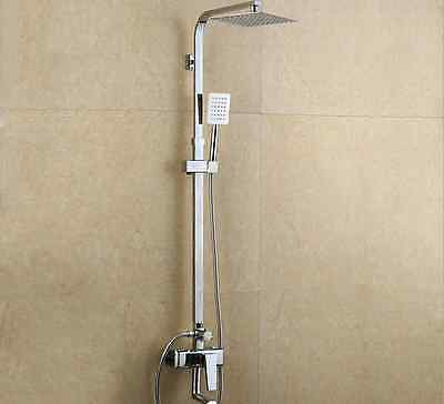 "Polished Bathroom Rain Bath 8""Shower Head Faucet Mixer Tub Tap with Hand Shower"