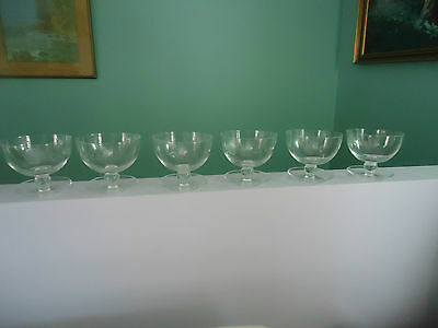 6 etched glass crystal sweet dessert bowls rose design