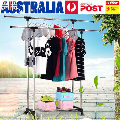 Adjustable Double Clothes Rail Hanging Garment Dress On Wheels With Shoe Rack AU
