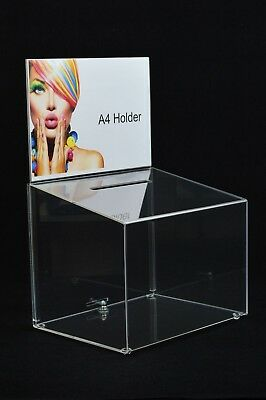 Lockable Ballot Comments Collection Competition Box Large Clear Acrylic - BB0001