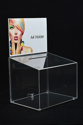 Lockable Ballot Comments Collection Suggestion Box Large Acrylic - BB0001 Clear