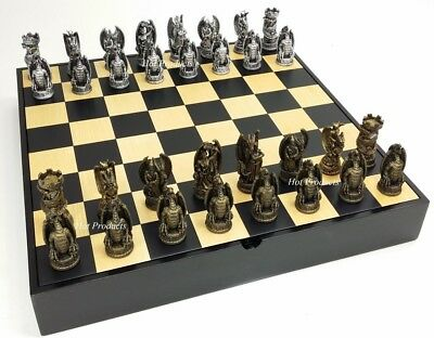 "Gothic Dragon Fantasy Chess Set 16"" Black & Maple Wood Storage Board"