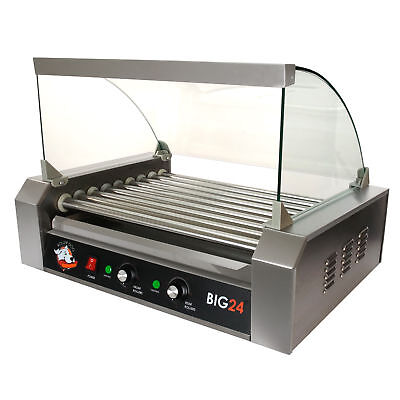 Roller Dog Commercial 24 Hot Dog 9 Roller Grill Cooker Machine - RDB24SS-KIT