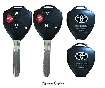 PAIR Replacement Key Keyless Remote Shell Case Fob Uncut Blade For 3 Button