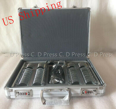 US 104 Pcs Metal Rim Optical Trial Lens Set Aluminium Case+1 Pc Trial Frame