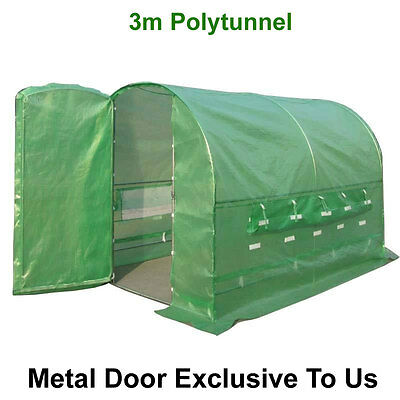 3m x 2m Polytunnel Pollytunnel Polly Tunnel Greenhouse Green House + Metal Door