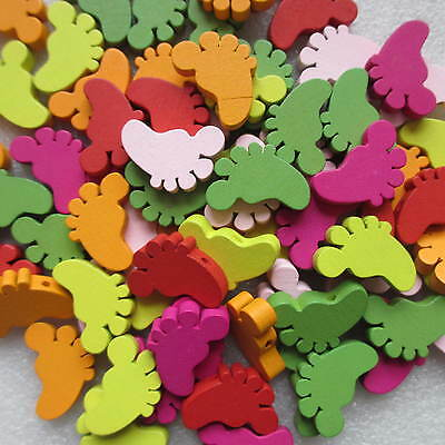10-50pcs Cute Wooden Baby Feet Foot, Small Charms Coloured Beads Craft Jewellery