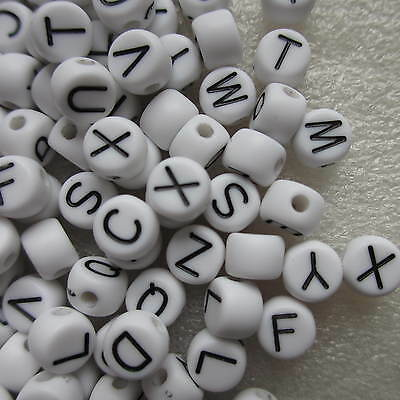50 - 3000 Letters A - Z Alphabet & Numbers Round Beads Acrylic 6 x 4mm White