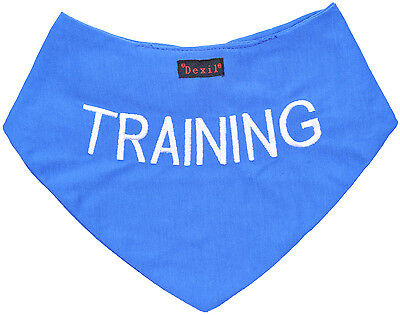Dog Pet Bandana Personalised Warning Message Blue Training Pet Neckerchief Scarf