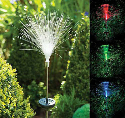 Outdoor Solar Powered LED Pathway Garden Yard Fiber Optic Night Light Lawn Lamp