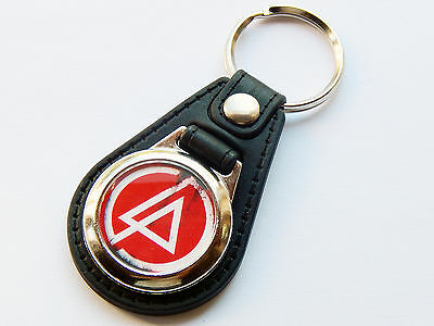 LINKIN PARK Rock Rap Metal Band Red Premium Leather & Chrome Keyring