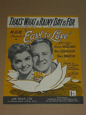 """Easy To Love"" 1953 film sheet music(Esther Williams/Van Johnson/Tony Martin)"