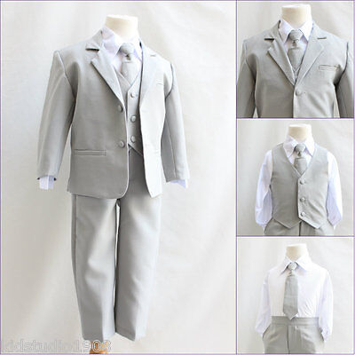 Baby Toddler Teen boy silver/light grey wedding ring bearer party formal suit
