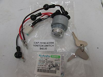 1 New Genuine Kubota Ignition Key Switch W/ Keys Part # 15193-63590