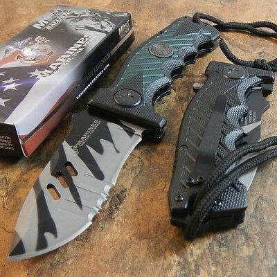 USMC Marines CAMO Spring Assisted Opening Large Tactical Folding Pocket Knife