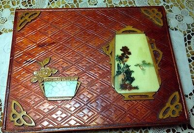 Unusual Asian (Chinese?)Wooden Box Handmade cutouts and painting Vintage