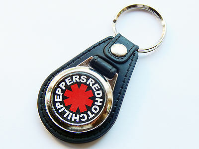 RED HOT CHILI PEPPERS Rock Band Premium Leather & Chrome Keyring