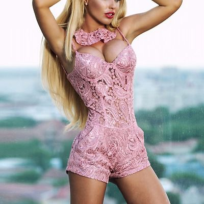 Damenoverall Hose Overall Einteiler Jumpsuit Catsuit Hotpants lachs  XS - S #O32