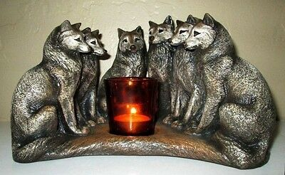 Spirit Wolf Council Candle Lamp Windstone Edtions art by M Pena  #MH2016