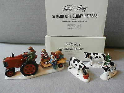 Dept 56 Snow Village Caroling at the Farm and A Herd of Holiday Heifers