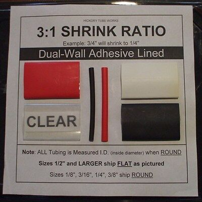 """1/4"""" BLACK 4 Ft. Dual-Wall Adhesive Lined Heat Shrink Tubing 3:1 Ratio"""