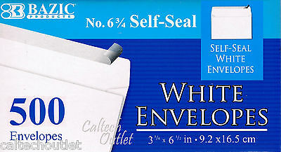 """500 Peel and Self-Seal White Letter Mailing Envelopes Shipping 3-5/8"""" x 6-1/2"""""""