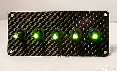 AUTHENTIC CARBON FIBER PANEL w/ LED toggle switches - GREEN