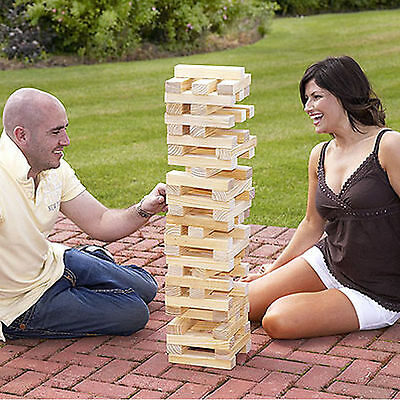 1.2M 60 Pieces Wooden Giant Tower Games Garden Jenga Party Bbq Family Fun Games