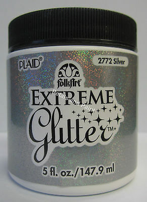 New Plaid Folk Art Extreme Silver Glitter Acrylic Paint 5 fl.oz/147.9ml #2772