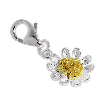 Sterling Silver Daisy Flower Clip on Charm Daisies Flowers Charms