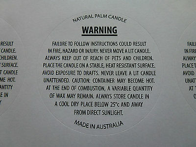 Candles making 2 x 15 per page PALM wax 50cm warning labels. Free postage.