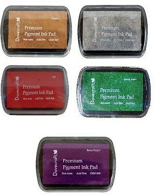 Set of 5 DOVECRAFT PIGMENT INK PADS Rubber stamping  CHRISTMAS Colours