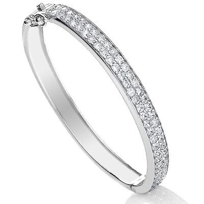 925 Sterling Silver Hallmarked Christening Baby Bangle Childrens Cubic Zircon 6""