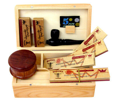 Christmas Gift Kit Wooden Rolling Box Grinder Hornet Paper Tips Smoking Pipe UK