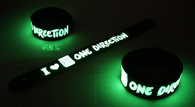 ONE DIRECTION Glow in the Dark Rubber Bracelet Wristband  vg30
