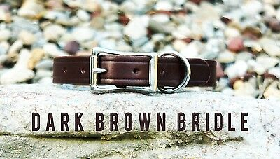 Classic Leather Dog Collar Dark Brown Chocolate Brass Steel Handmade Amish 1""